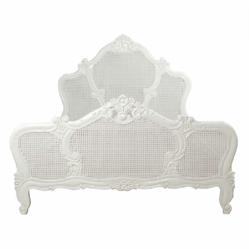 Louis XV Rattan Bed in Antique White